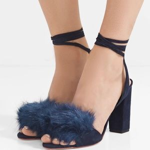 Loefler Randall Nicollete Faux Fur + Suede Sandal